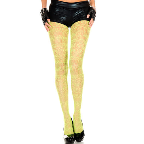 Groene panty met patroon