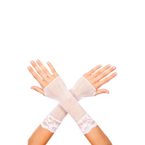 Korte Visnet Handschoenen Met Kant – Wit Wit – Music Legs