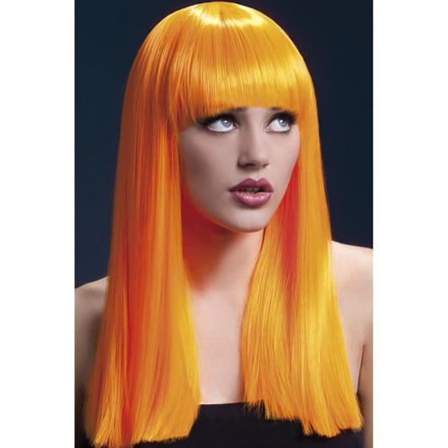 Lange Stijle Pruik - Neon Oranje