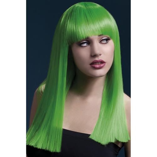 Lange Stijle Pruik - Neon Groen