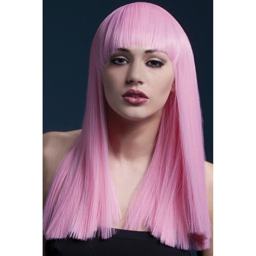 Fever roze lange pruik met pony