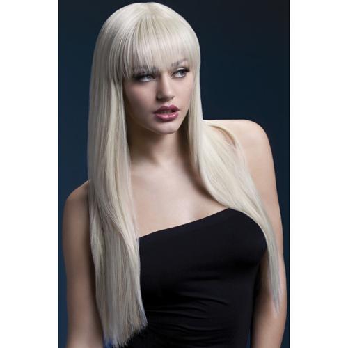 Blonde lange steile pruik Wit – Fever