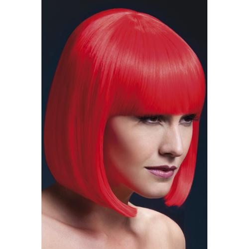 Korte Stijle Pruik - Neon Rood