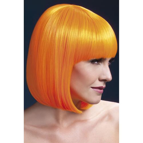 Fever neon oranje pruik met pony
