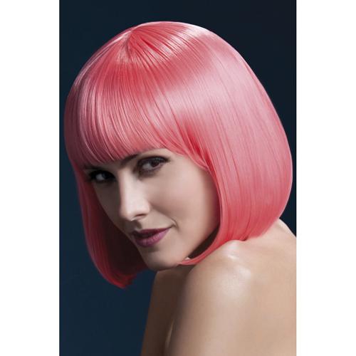 Korte Stijle Pruik - Neon Roze