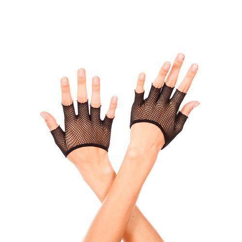 Korte Vingerloze Visnet Handschoenen – Zwart Zwart – Music Legs