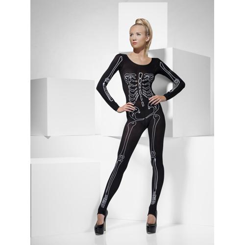Zwarte Catsuit met Skelet Print