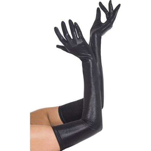 Zwarte lange wetlook handschoenen
