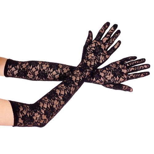 Lange Kanten Handschoenen – Zwart Zwart – Music Legs