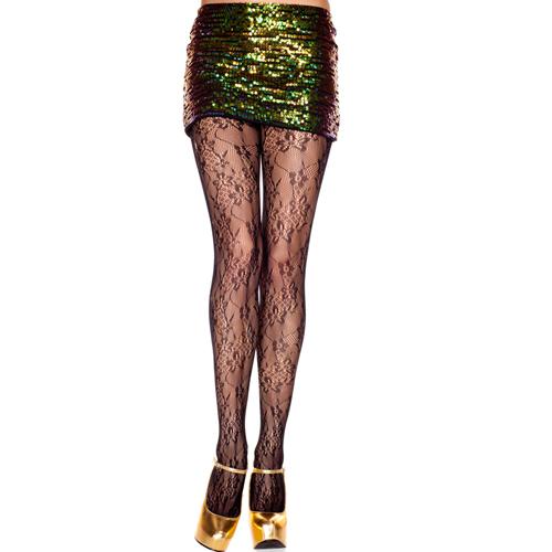 Panty Met Bloemendesign - Zwart