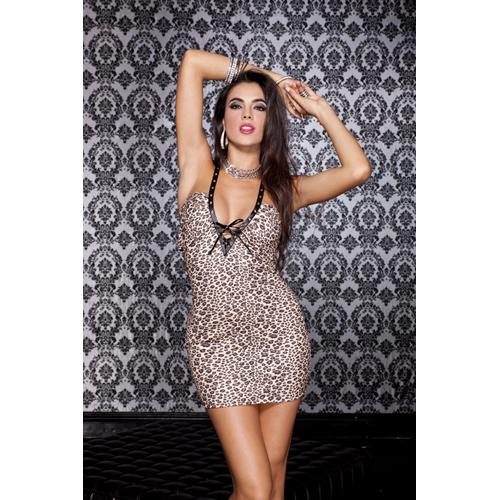 Sexy mini jurkje met luipaard print Bruin – Music Legs