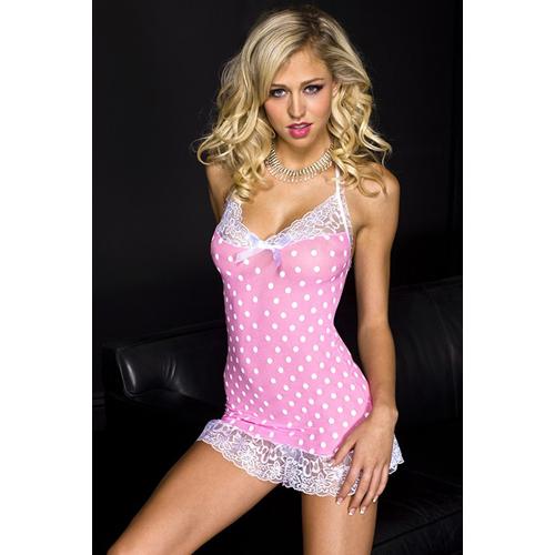 Roze mini jurkje met kant en polkadots Roze – Music Legs