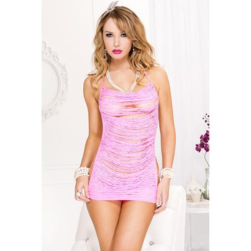 Mini jurk met open rug – Roze Roze – Music Legs