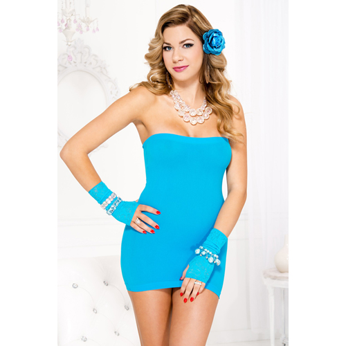 Strapless mini jurk – Turquoise Blauw – Music Legs