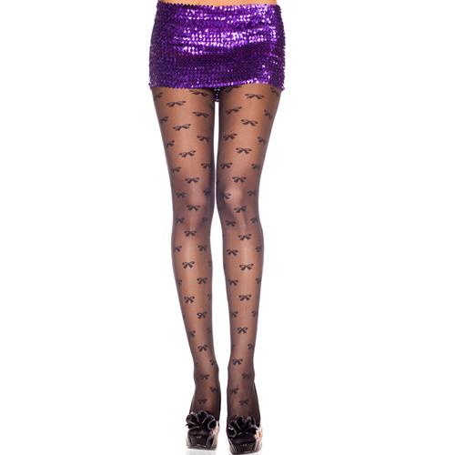 Panty Met Strikjesprint - Zwart