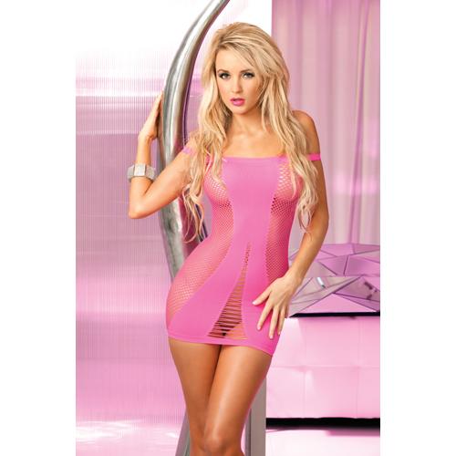 Roze naadloos visnet jurkje