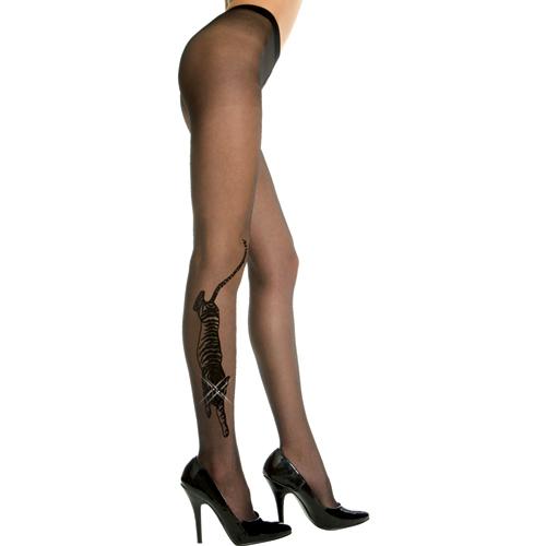 Panty Met Tijgerdesign – Zwart Zwart – Music Legs