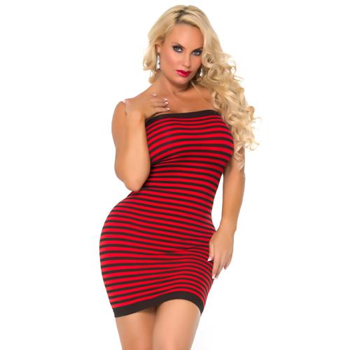 Gestreept jurkje strapless – Rood/zwart – Cocolicious
