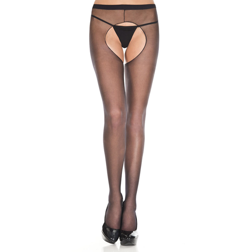 Basic panty Met Open Kruis – Zwart Zwart – Music Legs
