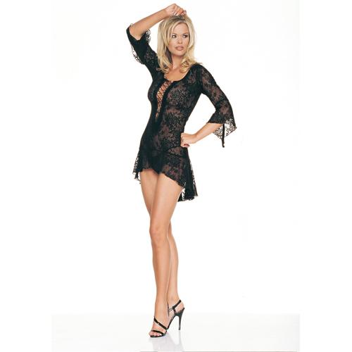Sierlijke zwarte kanten jurk