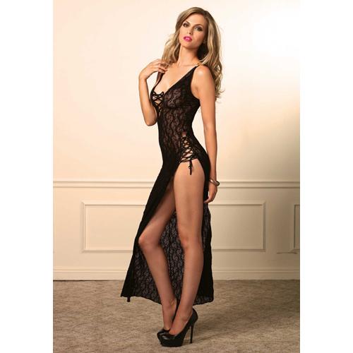 Zwart kanten jurk met split