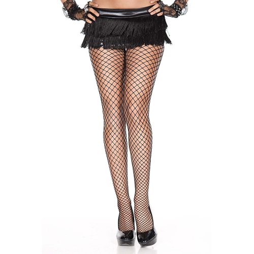 Plus Size Visnetpanty - Zwart