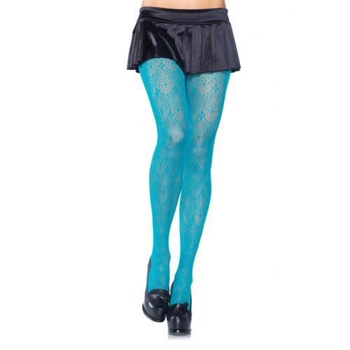 Kanten panty met kroonluchtermotief - Blauw
