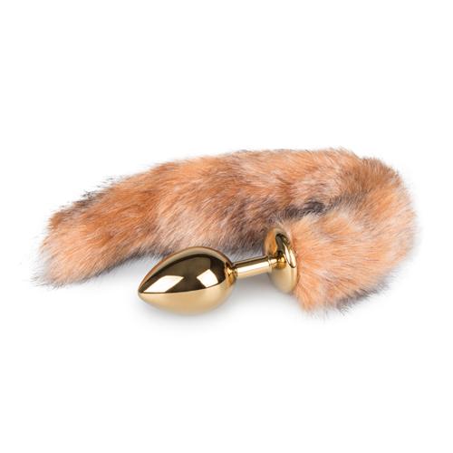Medium goudkleurige buttplug met gestreepte vossenstaart