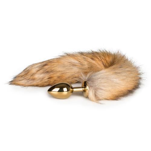 Medium goudkleurige buttplug met vossenstaart