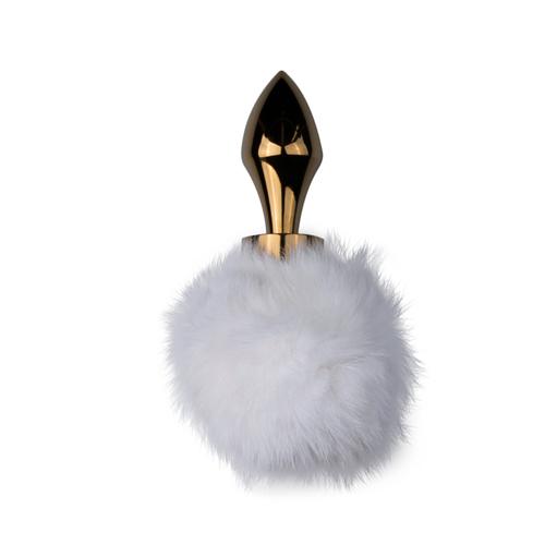 Goudkleurige buttplug met witte konijnenstaart
