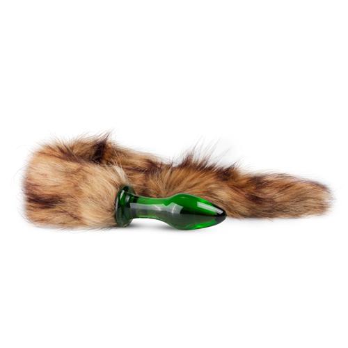 Glazen Buttplug Met Bruine Staart – Groen Groen – Gildo