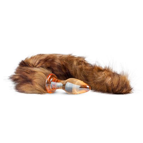 Glazen Buttplug Met Bruine Staart - Oranje