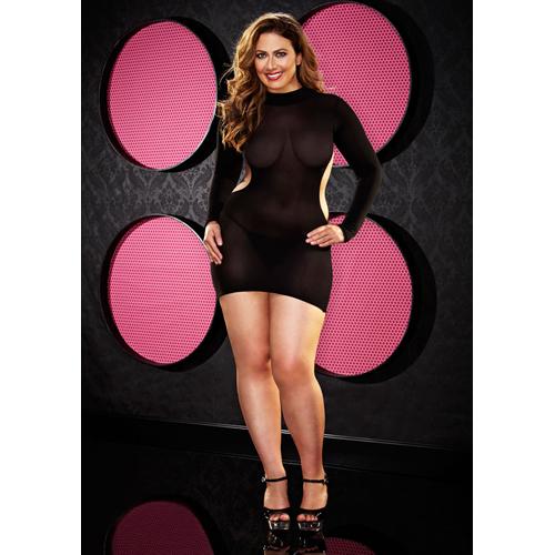 Mini jurk met open rug en lange mouwen- Plus Size - Zwart