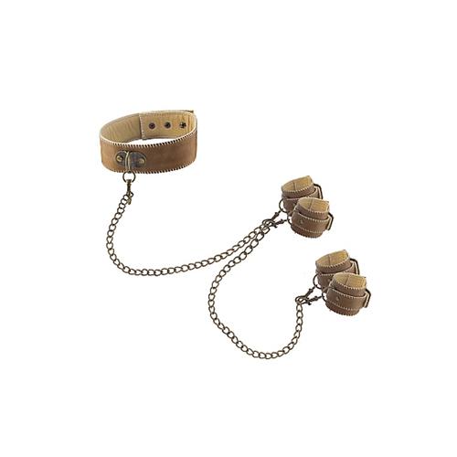 Ouch! Brown Halsband Met Hand- En Enkelboeien