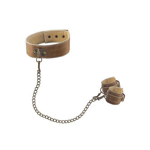 Ouch! Brown Halsband Met Handboeien