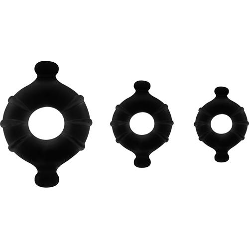 Cock- En Balring Set – 3 Stuks – Zwart Zwart – Shots Toys
