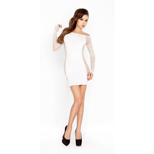 Wit mini jurkje met netstof mouwen Wit – Passion