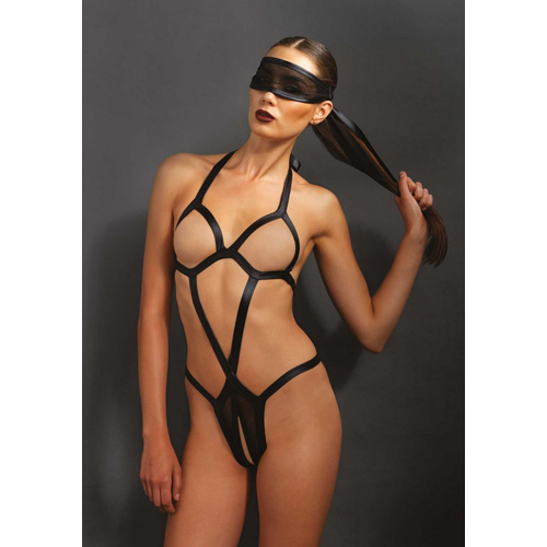 Bondage body met bijpassend oogmasker – Zwart Zwart – KINK