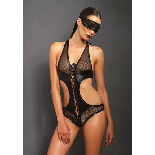 Body met open kruis en bijpassend oogmasker – Zwart Zwart – KINK
