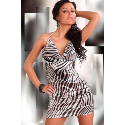 Eliora Glanzend Jurkje – Zwart/Wit – Livia Corsetti Fashion