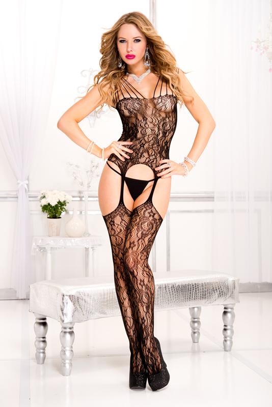 Afbeelding van Bodystockings Catsuit Met Meerdere Schouderbandjes En Jarreteldesign Zwart One Size Music Legs