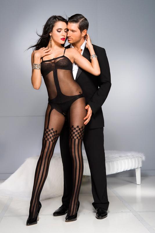 Afbeelding van Bodystockings Catsuit Met Jarretelsetje Design Zwart One Size Music Legs
