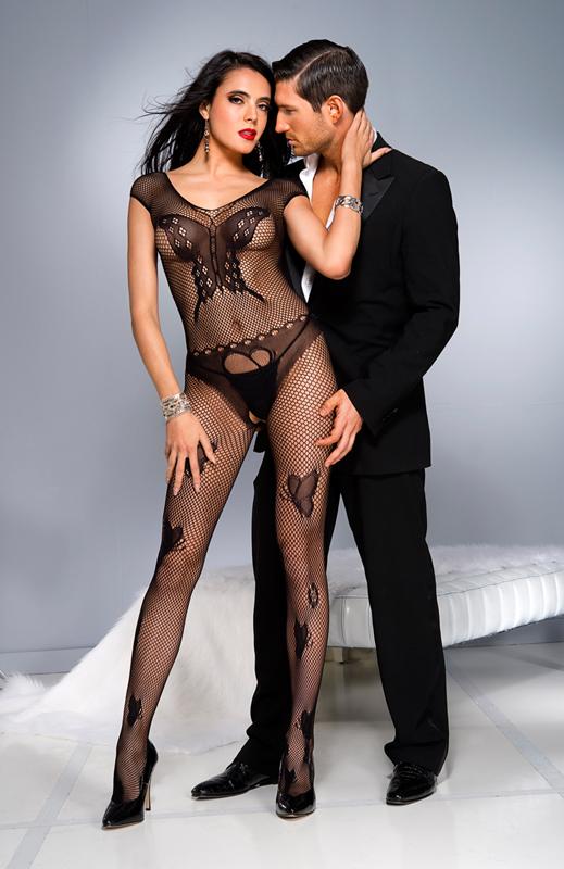 Afbeelding van Bodystockings Catsuit Met Open Kruis En Vlinderdesign Zwart One Size Music Legs