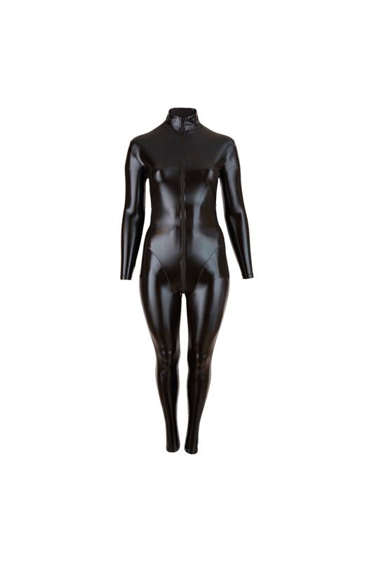 Afbeelding van Bodystockings Plus Size Wetlook Catsuit Met Lange Rits XL Cottelli Collection