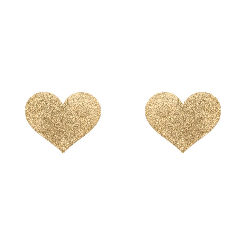 Afbeelding van Flash Heart Tepelstickers Goud van Bijoux Indiscrets one size