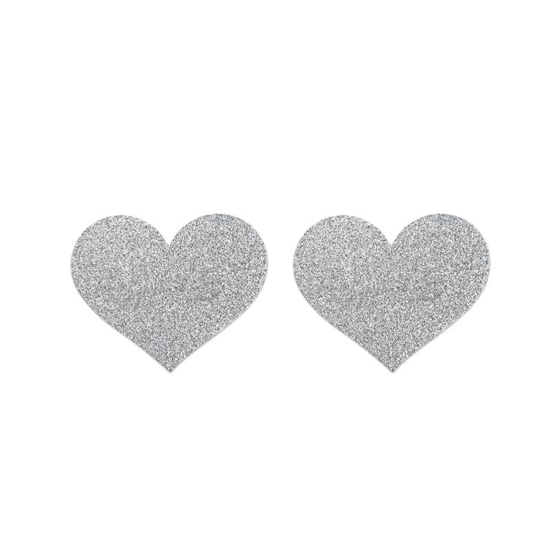 Afbeelding van Flash Heart Tepelstickers Zilver van Bijoux Indiscrets one size