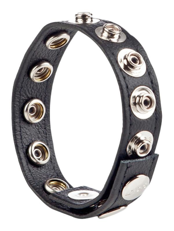Abbildung von COLT 8 Snap Fastener Leather Strap in Schwarz Leder