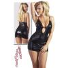 Zwart wetlook mini jurkje