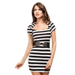 Zwart/wit gestreept jurkje met riem