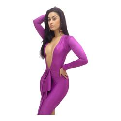 Paarse nauwsluitende jurk